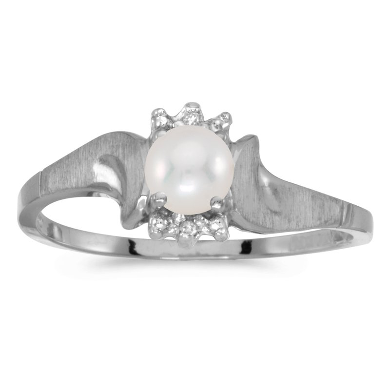 Color Merchants 14k White Gold Freshwater Cultured Pearl And Diamond Satin Finish Ring