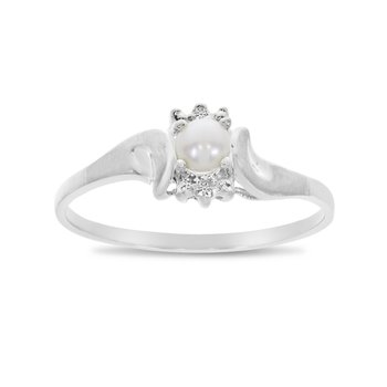 14k White Gold Freshwater Cultured Pearl And Diamond Satin Finish Ring