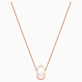North Necklace, White, Rose-gold tone plated