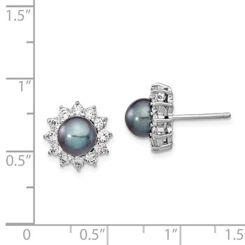 Cheryl M SS Rhodium Plated CZ & FWC Black Pearl Stud Post Earrings