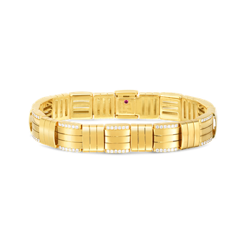 18K VENETO WOVEN WIDE SINGLE ROW BRACELET  W. DIAMOND ACCENT