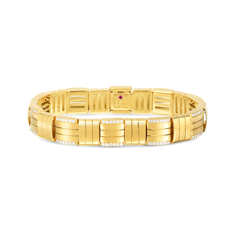 Roberto Coin 18K VENETO WOVEN WIDE SINGLE ROW BRACELET  W. DIAMOND ACCENT