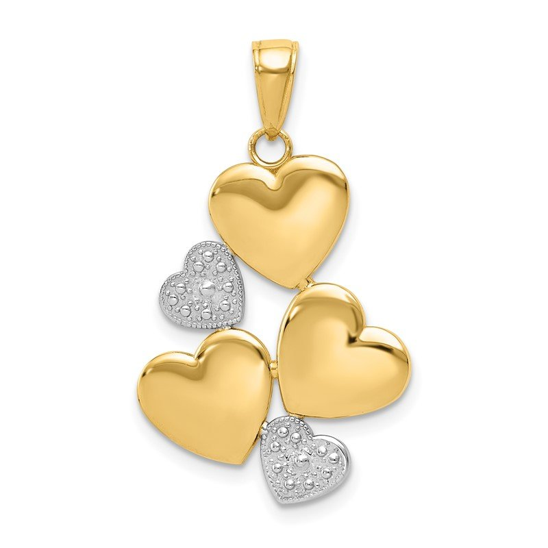 Quality Gold 14K and White Rhodium Polished Hearts Pendant