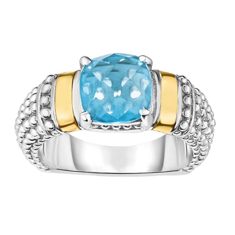 Royal Chain Silver & 18K Cushion Blue Topaz Popcorn Ring