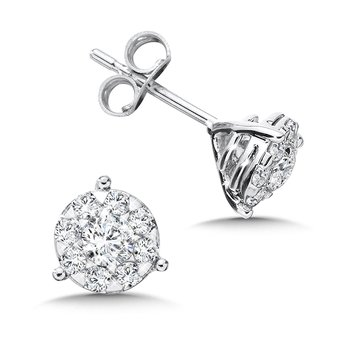 Diamond Earrings in 14K White Gold (1 ct. tw.)