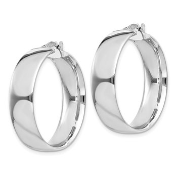 Sterling Silver Rhodium-plated 7x30mm Hoop Earrings