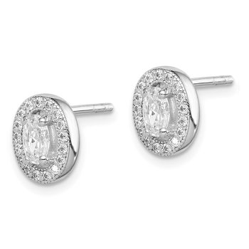 Sterling Silver Rhodium-plated w/ CZ Oval Stud Earrings