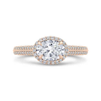 18K Rose Gold Oval Diamond Halo Engagement Ring with Euro Shank (Semi-Mount)