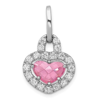 Sterling SilverRhodium Plated Pink and Clear CZ Heart Pendant