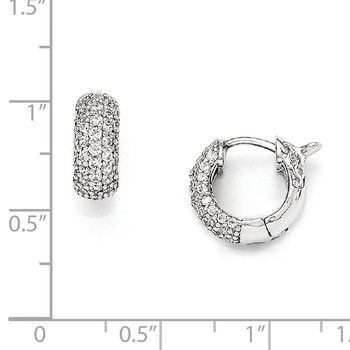 SS Rhodium Plated CZ Small Hinged Hoop Earrings