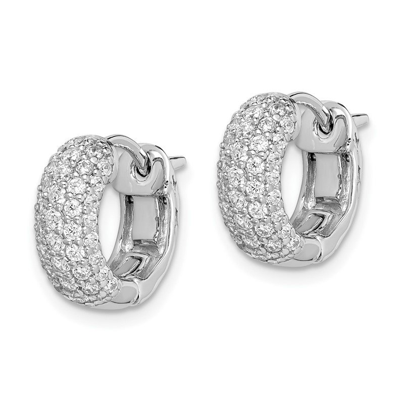 Quality Gold SS Rhodium Plated CZ Small Hinged Hoop Earrings
