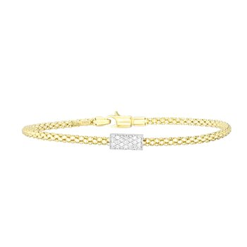 14K Gold Popcorn Short Diamond Bar Bracelet