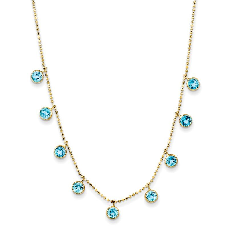 Quality Gold 14k Blue Topaz w/2in ext. Necklace