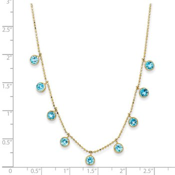 14k Blue Topaz w/2in ext. Necklace
