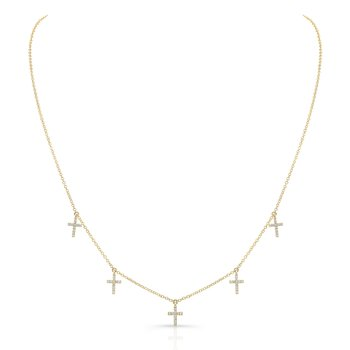 Yellow Gold Piety Dangling Cross Necklace