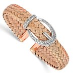 Leslie's Leslie's Sterling Silver Rose-tone CZ Woven Flexible Cuff Bangle