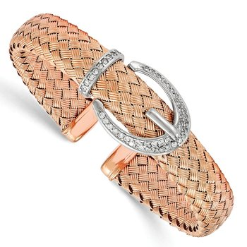Leslie's Sterling Silver Rose-tone CZ Woven Flexible Cuff Bangle