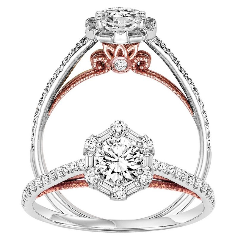14K Diamond Engagement Ring 1/4 ctw with 3/8 ct Center