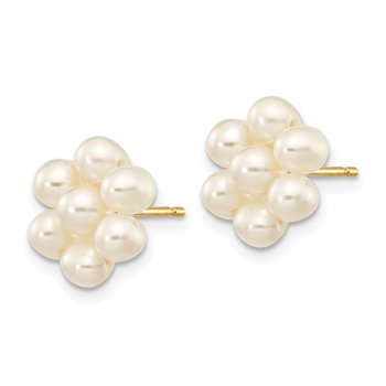 14k 3-4mm White Egg Freshwater Cultured Pearl Flower Earrings