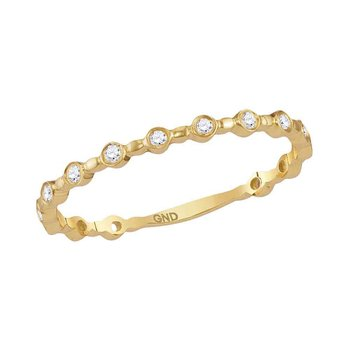 10kt Yellow Gold Womens Round Diamond Slender Stackable Band Ring 1/10 Cttw