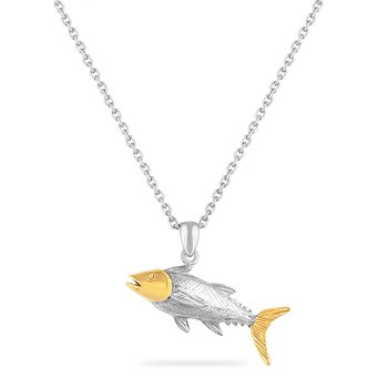 STERLING SILVER & 14KY TUNA FISH PENDANT ON A 18 INCH SILVER CHAIN