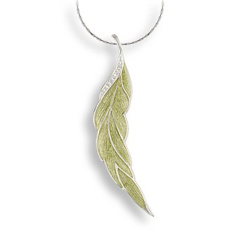 Green Leaf Necklace.Sterling Silver-White Sapphire