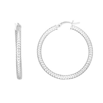 Silver 30mm Linear Diamond Cut Hoops