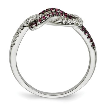 Sterling Silver CZ Brilliant Embers Love Knot Ring