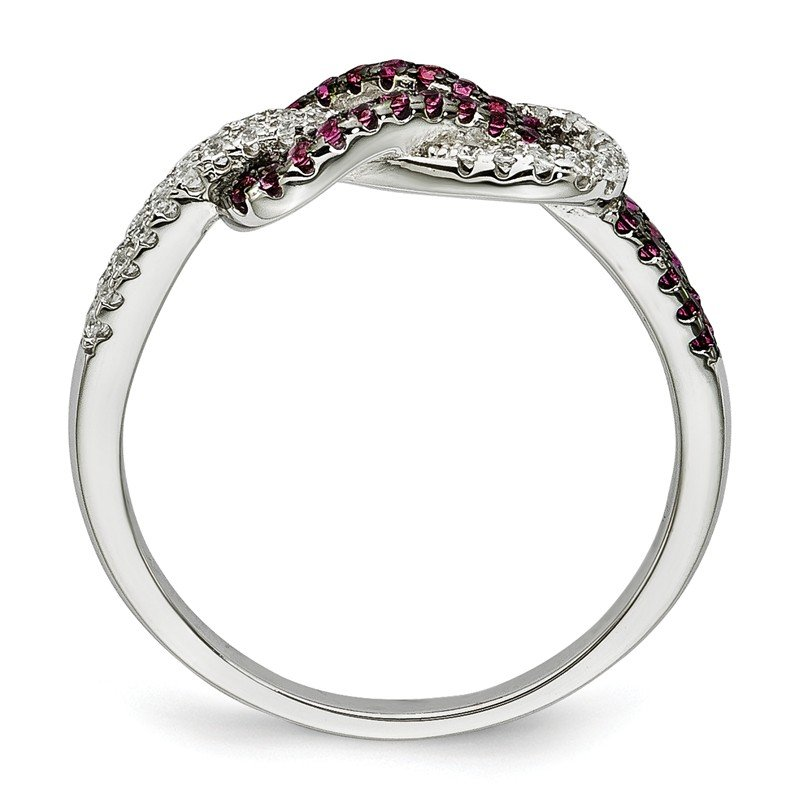 Quality Gold Sterling Silver CZ Brilliant Embers Love Knot Ring