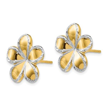 Leslie's 14K w/Rhodium Flower Post Earrings