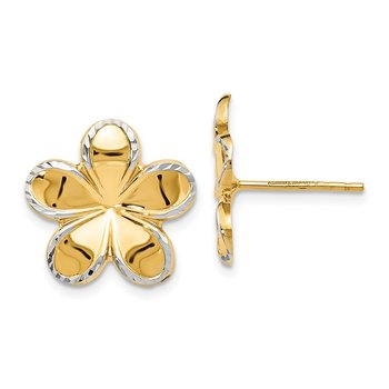 Leslie's 14k w/ Rhodium Flower Post Earrings
