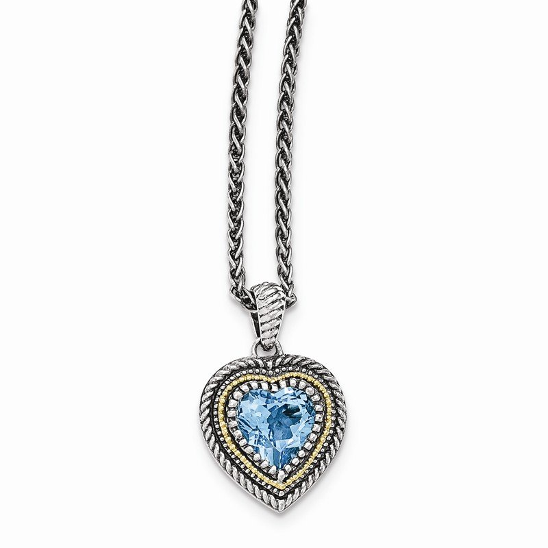 Shey Couture Sterling Silver w/14k Lt Swiss Blue Topaz Heart Necklace