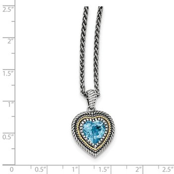Sterling Silver w/14k Lt Swiss Blue Topaz Heart Necklace