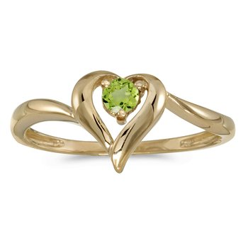 14k Yellow Gold Round Peridot Heart Ring