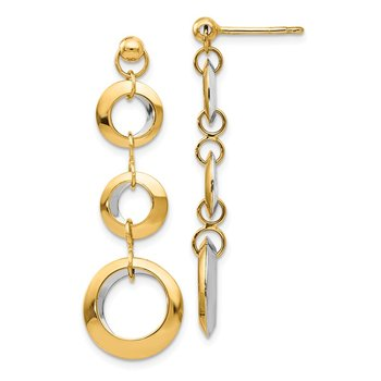 Leslie's 14K Two-tone Polished Circle Reversible Post Earrings