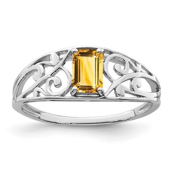 Sterling Silver Rhodium Plated Citrine Ring