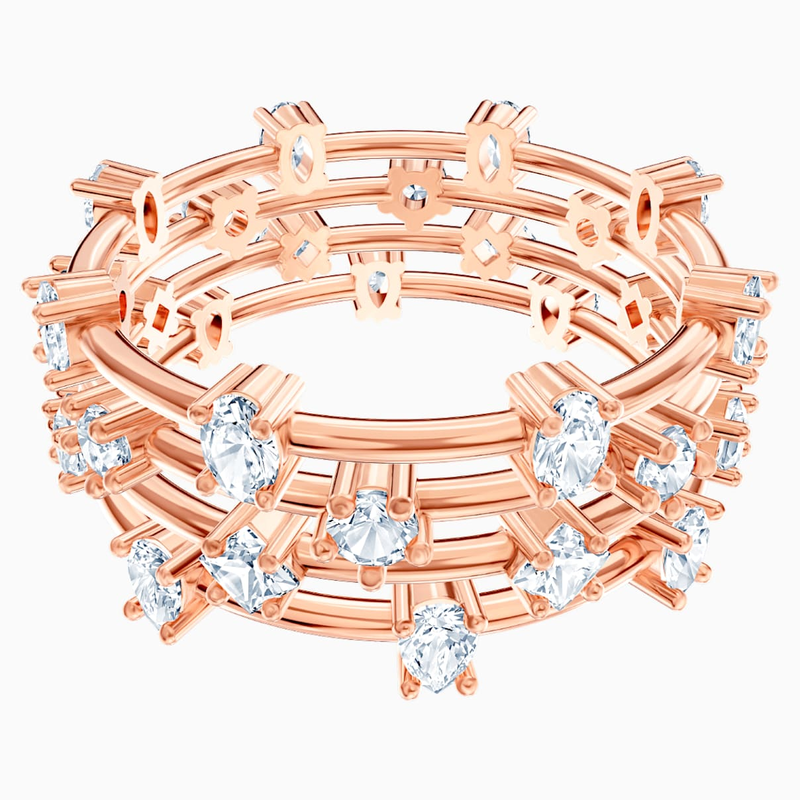 Swarovski Penélope Cruz Moonsun Cluster Ring, White, Rose-gold tone plated