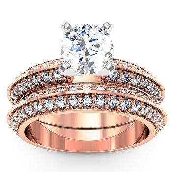 Knife Edge Engagement Ring with Matching Wedding Band