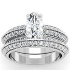 Knife Edge Engagement Ring with Matching Wedding Band