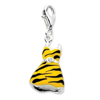 Sterling Silver Amore La Vita Rhodium-pl CZ Enameled Tiger Dress Charm