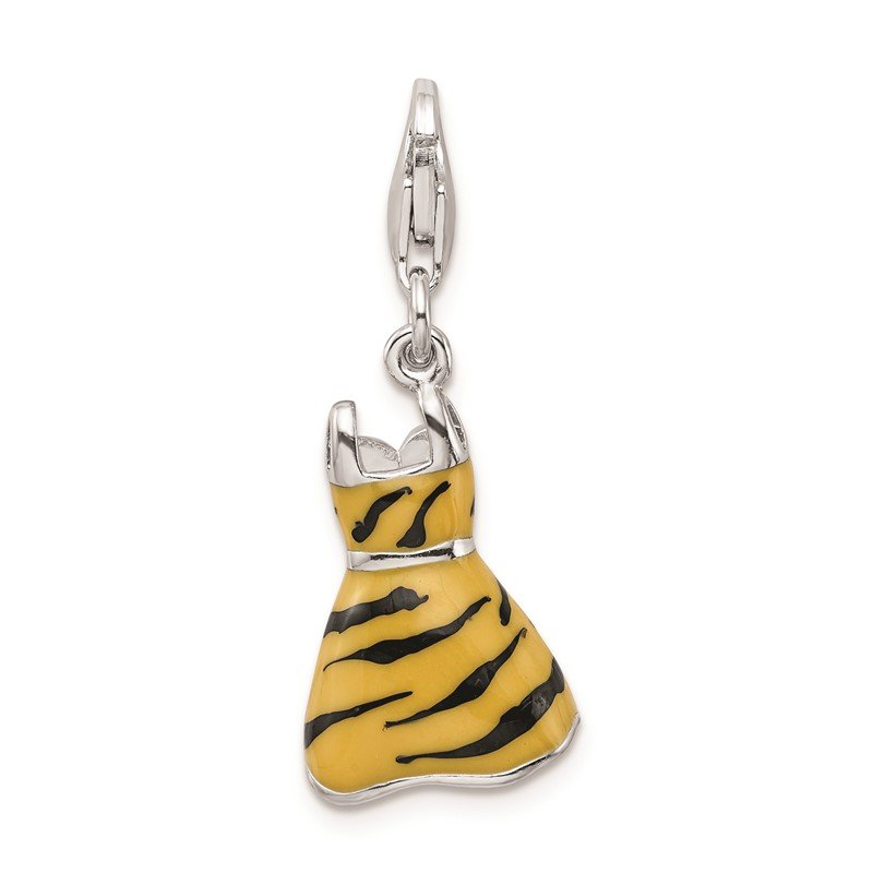 Quality Gold Sterling Silver RH Click-on CZ Enamel Tiger Dress Charm