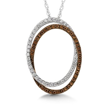 Pave set Cognac and White Diamond Interlocked-Hoops Pendant, 10k White Gold  (3/4 ct. dtw.)