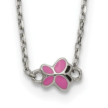 Sterling Silver 16+2in Extension Enameled Butterfly Necklace