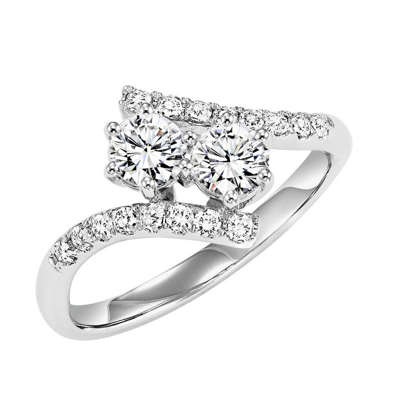 Twogether 14K Diamond Two Stone Ring 1/2 ctw