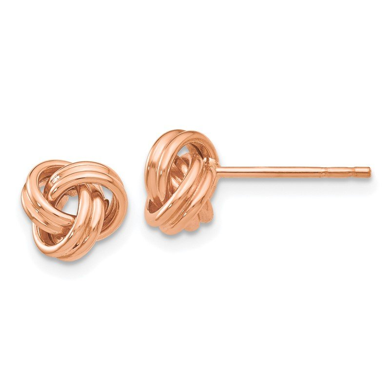 Quality Gold 14k Rose Gold Polished Love Knot Post Earrings