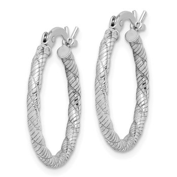 Sterling Silver Patterned Twist 2x20mm Hoop Earrings