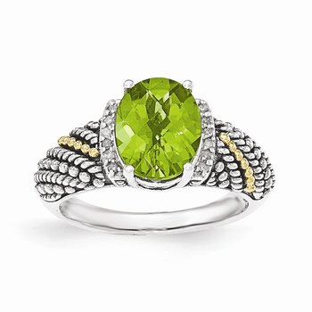 Sterling Silver w/14k Peridot & Diamond Ring