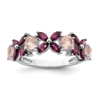 Sterling Silver Rhodium-plated Rose Quartz & Rhodolite Ring