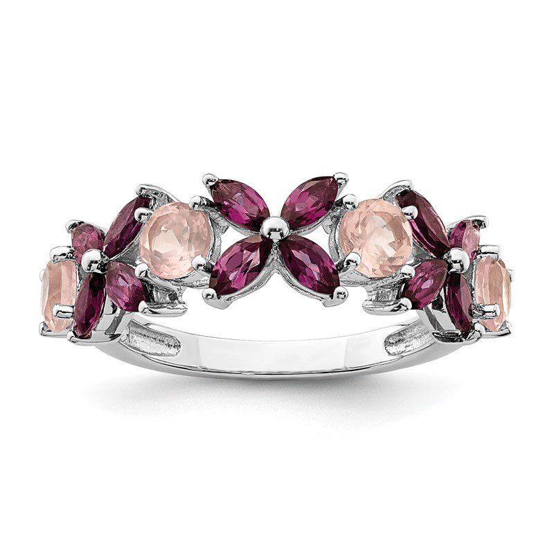 Quality Gold Sterling Silver Rhodium-plated Rose Quartz & Rhodolite Ring