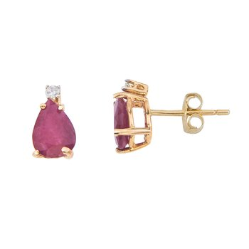 14k Yellow Gold Pear Shape Ruby And Diamond Earrings
